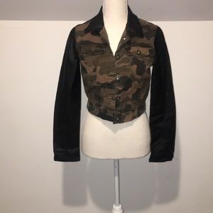 Vintage camouflage jacket with faux leather